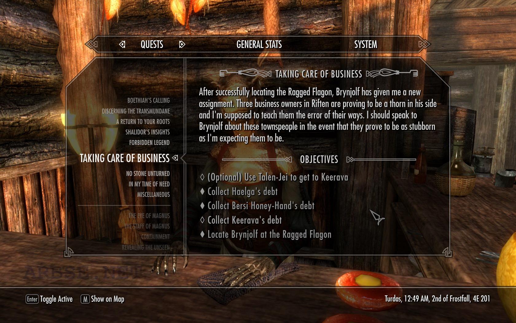 the forbidden quest skyrim system