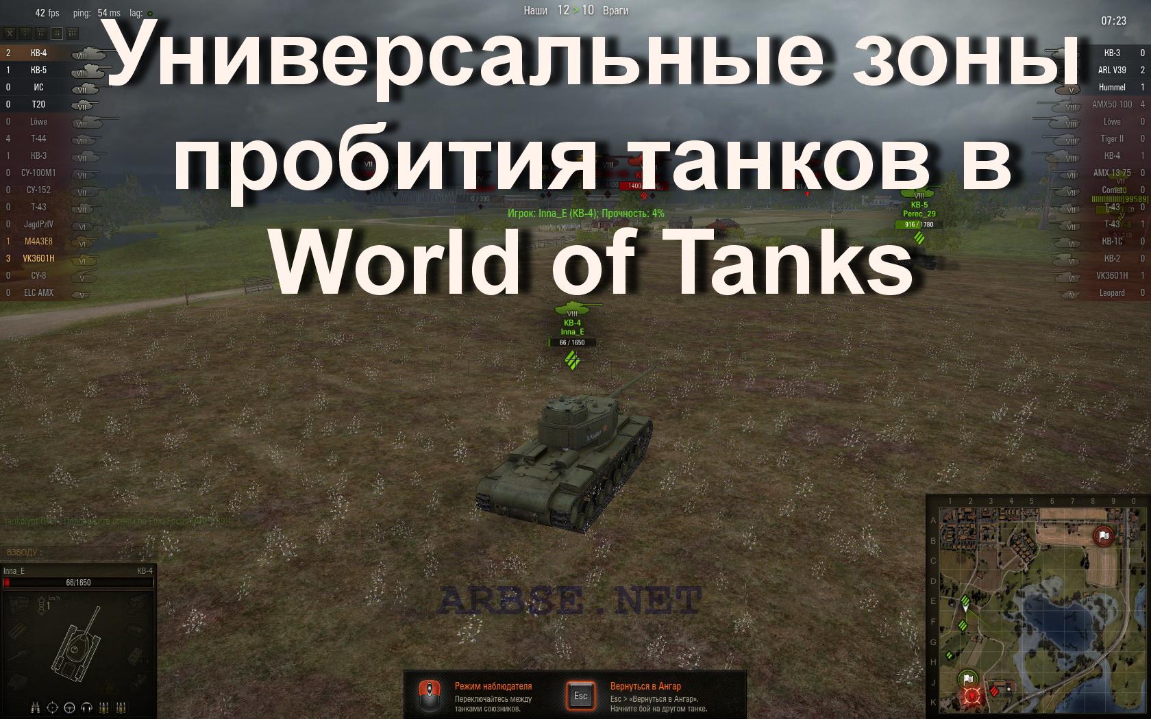 Зоны пробития для world of tanks 0 9 1
